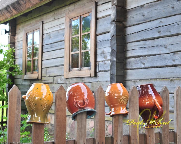 Drying pots.