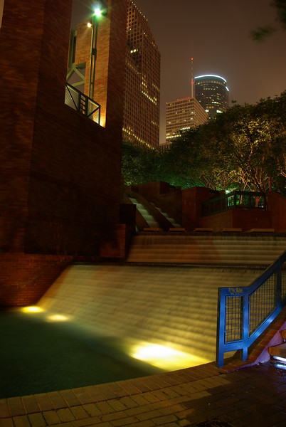 """Waterfall"" along walkway of Buffalo Bayou, just below Wortham Center<br /> Downtown Houston, Texas"