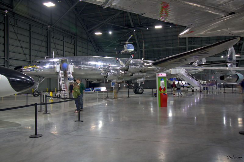 """National Museum of the United States Air Force, Dayton, Ohio,   04/13/2019  Lockheed VC-121E Super Constellation, c/n 4151 53-7885  """"Columbine III""""     Presidential Aircraft Bell UH-13J Sioux C/N 1575 57-2728    Presidential Aircraft  This work is licensed under a Creative Commons Attribution- NonCommercial 4.0 International License."""