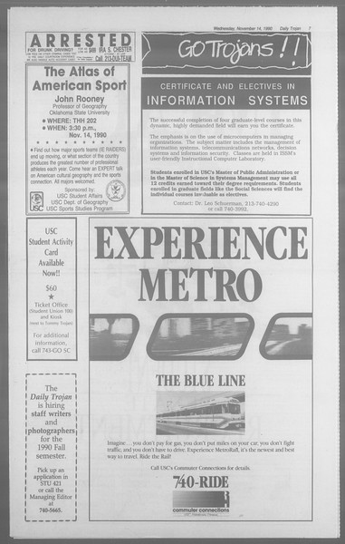 Daily Trojan, Vol. 113, No. 51, November 14, 1990