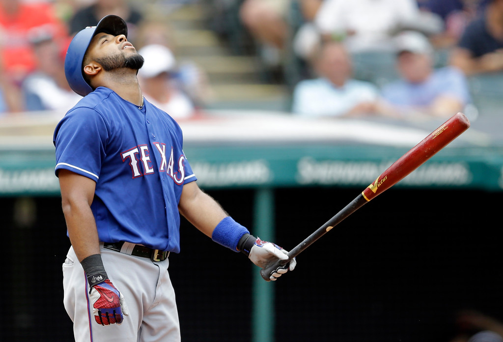 . Texas Rangers\' Elvis Andrus reacts after striking out in the sixth inning of a baseball game against the Cleveland Indians, Thursday, June 29, 2017, in Cleveland. (AP Photo/Tony Dejak)