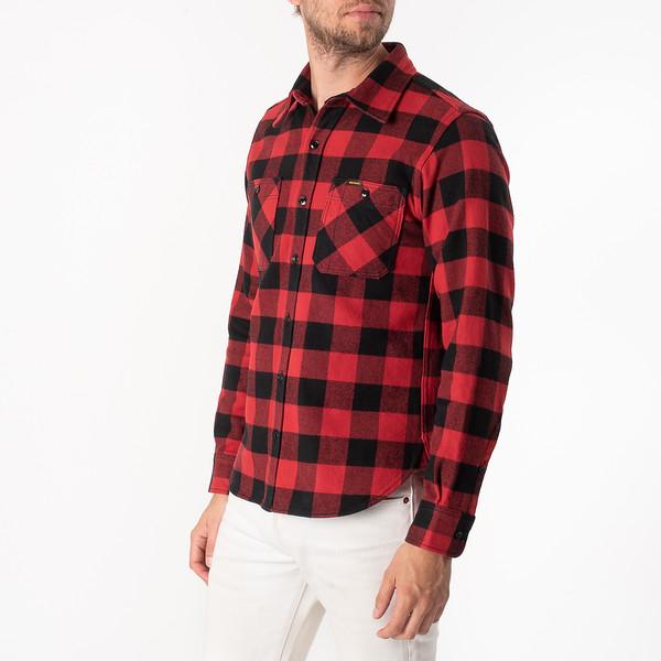 Ultra Heavy Flannel Buffalo Check Work Shirt - Red-Black-6903.jpg