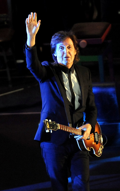 . Paul McCartney takes the stage for a performance on Hollywood Boulevard in Hollywood, CA Monday, September 23, 2013.  A portion of Hollywood Boulevard will be closed from Highland to Orange through Wednesday morning to make way for two concerts planned for �Jimmy Kimmel Live.� (Andy Holzman/Los Angeles Daily News)