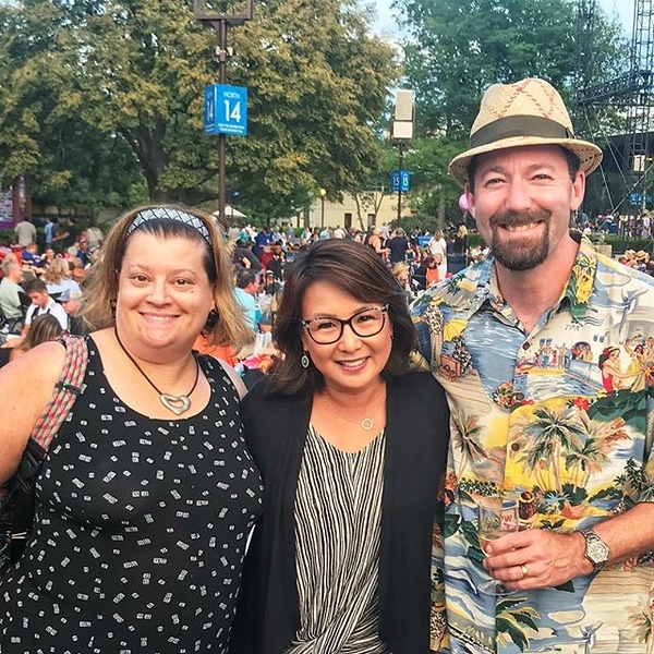 Found @nancyloo at #Lost80s night @raviniafestival! Ready to #WangChung and rock with the #FlockofSeagulls. #raviniafestival