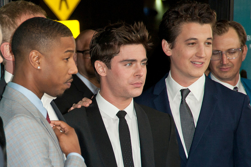 LOS ANGELES, CA - JANUARY 27: Writer/director Tom Gormican, actors Mackenzie Davis, Michael B. Jordan, Zac Efron, Miles Teller and  arrive at the premiere of Focus Features' 'That Awkward Moment' at Regal Cinemas L.A. Live on January 27, 2014 in Los Angeles, California. (Photo by Tom Sorensen/Moovieboy Pictures)