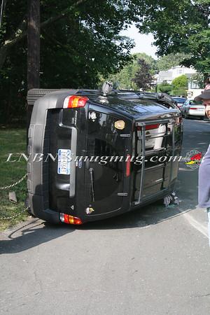 Lindenhurst F.D. Overturned Auto Hartford St @ Entrance to Firemen's Park 8-9-12