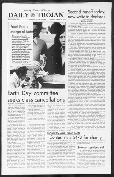 Daily Trojan, Vol. 61, No. 109, April 21, 1970
