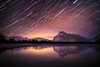 """As the Earth Turns""<br /> <br /> Stars make their nightly journey across the Banff skies...<br /> <br /> Vermilion Lakes, Banff National Park, Alberta, Canada."