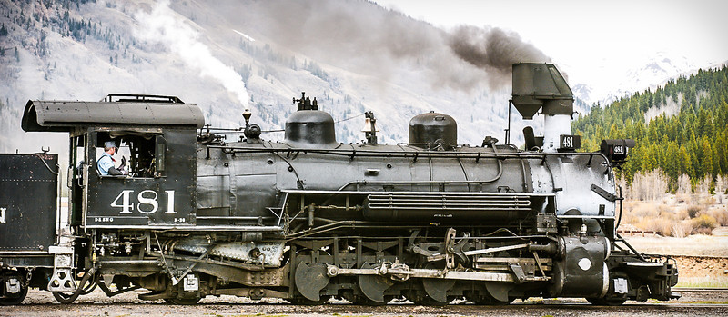 Locomotive 481, Durango and Silverton Narrow Gauge Railroad, Leaving Silverton, Colorado, 2000