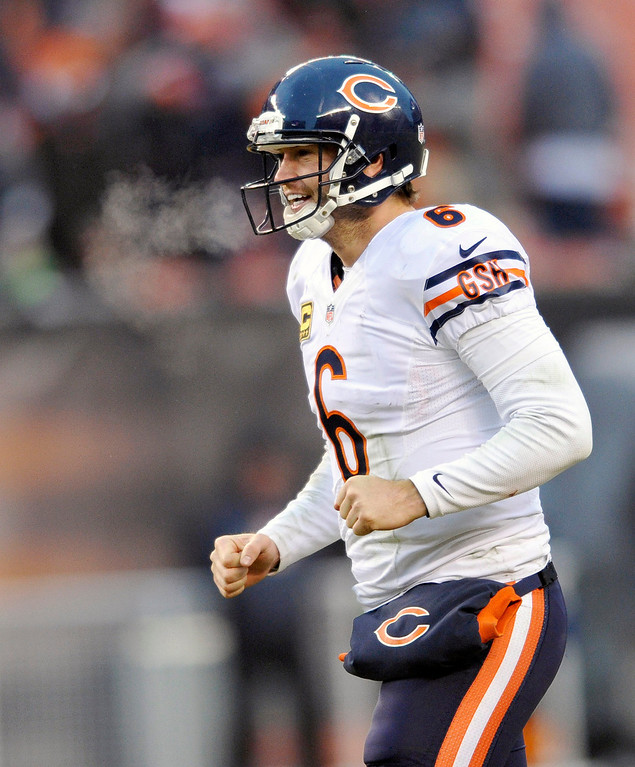. Chicago Bears quarterback Jay Cutler celebrates a touchdown by Bears running back Michael Bush in the fourth quarter of an NFL football game against the Cleveland Browns on Sunday, Dec. 15, 2013, in Cleveland. Chicago won 38-31. (AP Photo/David Richard)