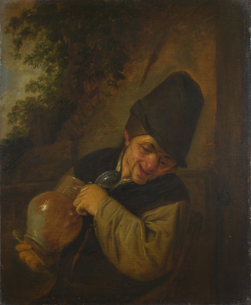 A Peasant holding a Jug and a Pipe