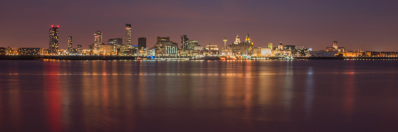 Liverpool Waterfront at night panorama