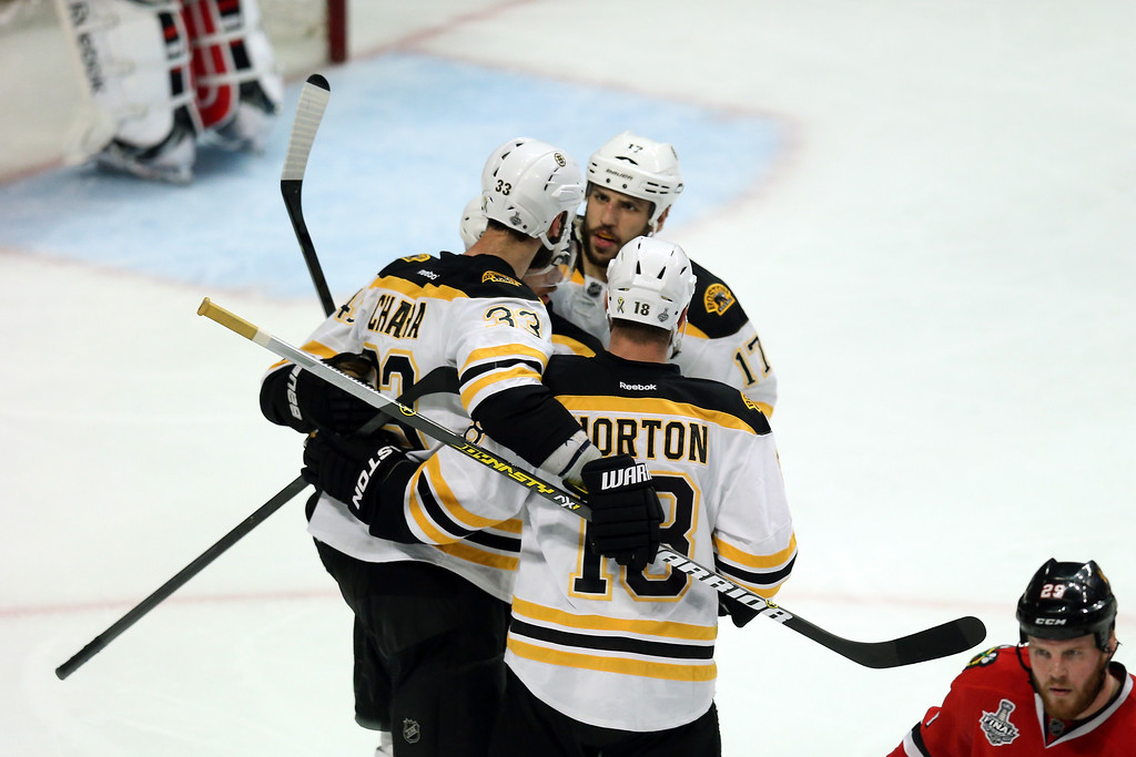 . CHICAGO, IL - JUNE 22:  Zdeno Chara #33 of the Boston Bruins celebrates with his teammates Nathan Horton #18 and David Krejci #46 after Chara scored a goal in the third period against Corey Crawford #50 of the Chicago Blackhawks in Game Five of the 2013 NHL Stanley Cup Final at United Center on June 22, 2013 in Chicago, Illinois.  (Photo by Jonathan Daniel/Getty Images)