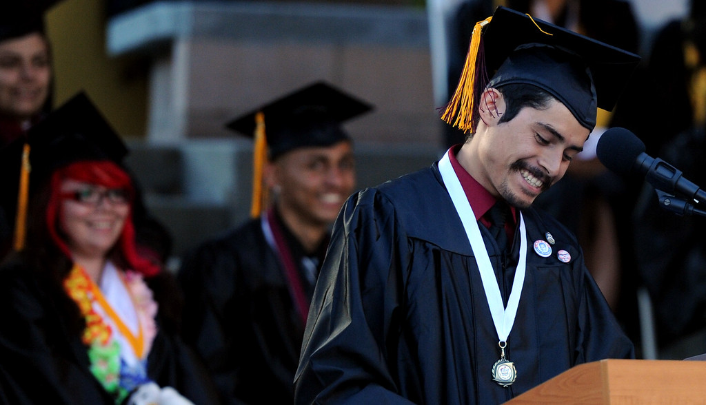 . Student speaker Bryan A. Henriquez speaks during the Vail High School commencement at Vail High School on Tuesday, June 18, 2013 in Montebello, Calif.