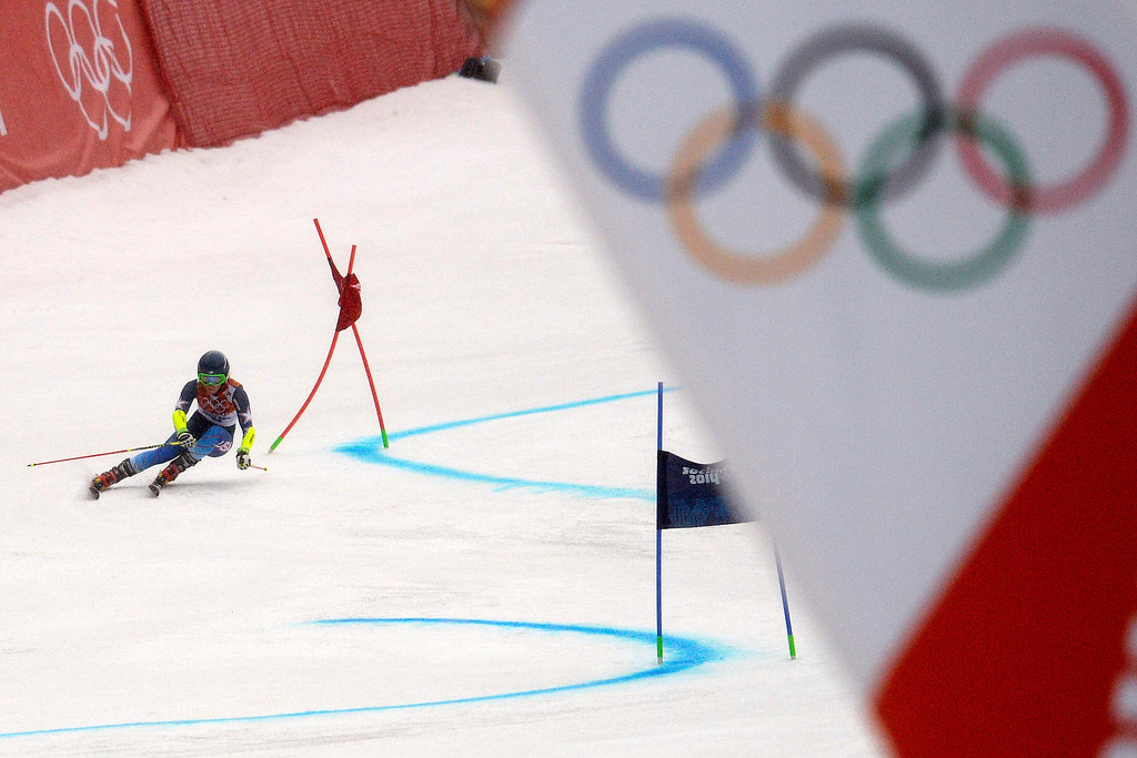 . U.S.A. skier Mikaela Shiffrin races during the first round of the ladies\' giant slalom. Sochi 2014 Winter Olympics on Tuesday, February 18, 2014. (Photo by AAron Ontiveroz/The Denver Post)