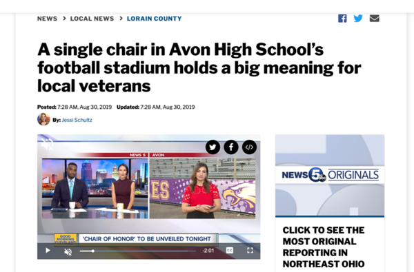 Avon, OH - POW/MIA CHAIR., FRI., Aug. 30, 2019