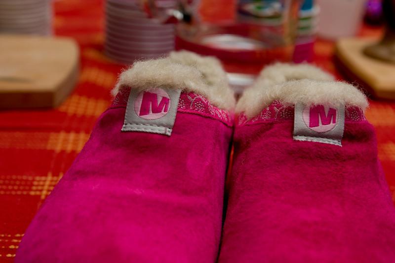 Pink furry Merrells.