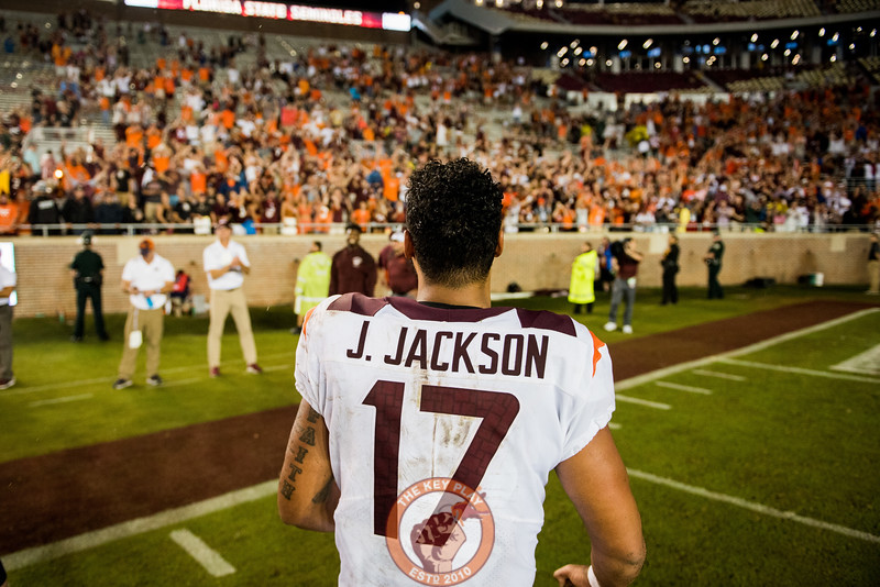 Josh Jackson runs over to celebrate with fans after the matchup between Virginia Tech and Florida State at Doak Campbell Stadium, Monday, Sept. 3, 2018. (Photo by Cory Hancock)