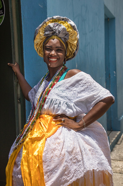 Afro-Brazilian lady in large hoop skirt, Salvador, Bahia, Brazil.