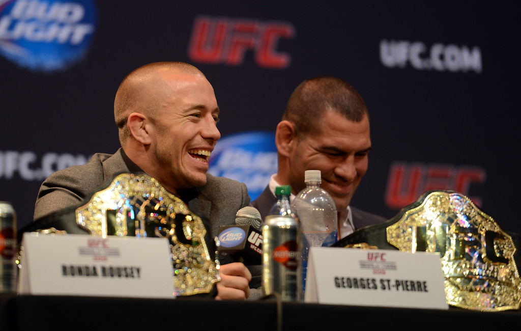 . UFC welterweight champion George St-Pierre during the UFC World Tour at Club Nokia Tuesday, July 30, 2013 in Los Angeles. (Hans Gutknecht/Los Angeles Daily News)