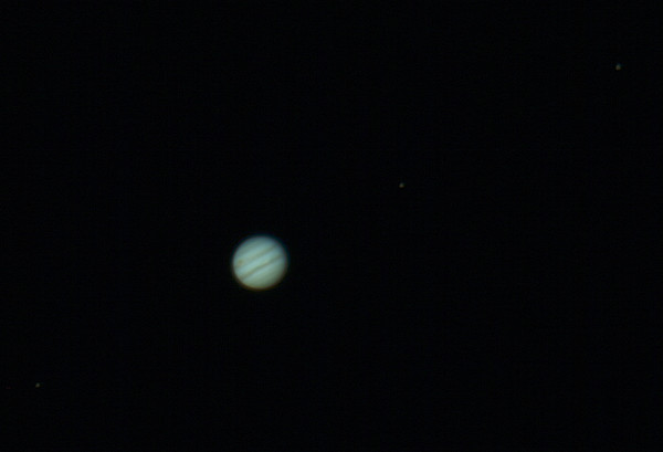 Jupiter with 3 Moons: Eurpoa, Io and Ganymede - 20/4/2015 (Processed stack)