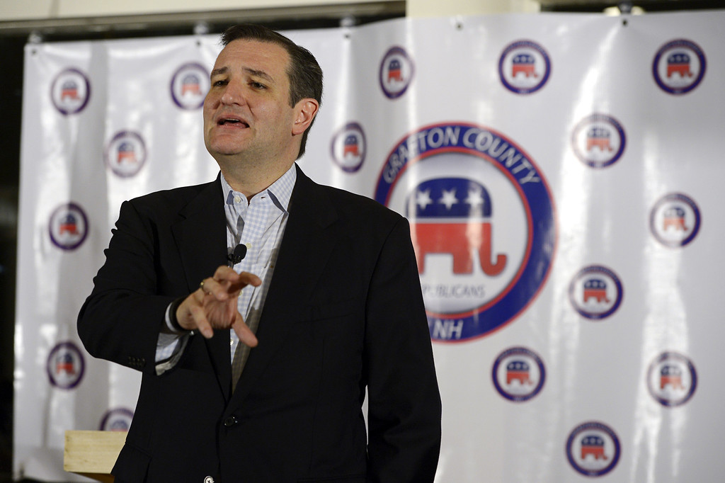 . U.S. Sen. Ted Cruz, R-Texas, speaks at the Grafton County Republican Committee\'s Lincoln-Reagan Day Dinner at the Indianhead Resort in Lincoln, N.H., on Sunday, March 15.