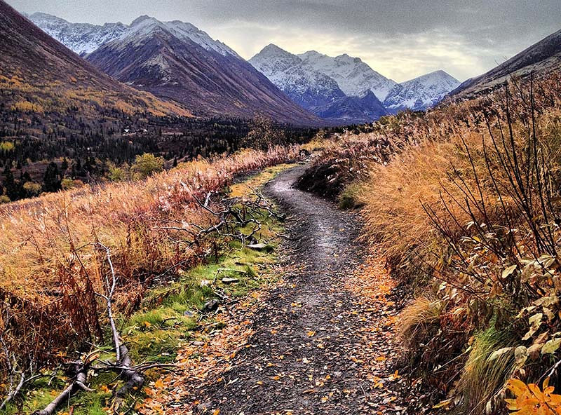 Hiking trail in the fall towards Eagle & Symphony Lakes near Anchorage, Alaska (Photo: Kim Olson)