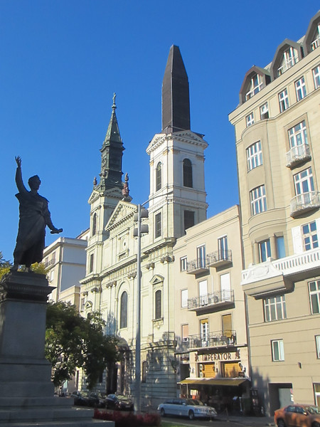 This Orthodox Church facing the statue of Sander Petofi (on the shadowed left) lost its right steeple in the second world war.