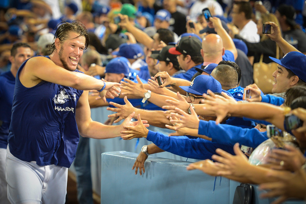. Dodgers celebrate their win over the Braves Monday, October 7, 2013 ( David Crane/Los Angeles Daily News )