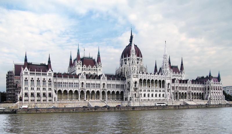 34-Hungarian State Parliament Parliament (1902). Inspired in part by the Palace of Westminster. White neo-gothic turrets and arches stretch 250 meters along the Danube embankment.