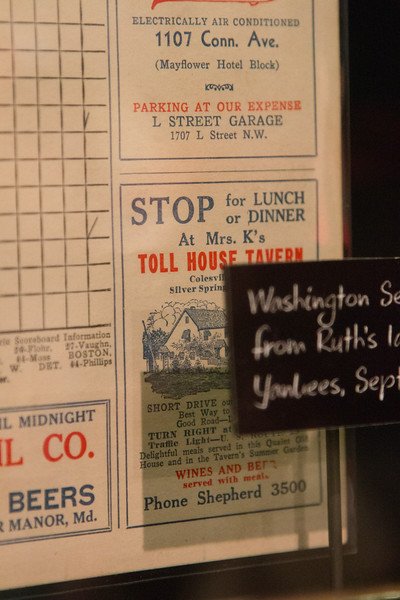 Detail showing Mrs K's Toll House (Silver Spring) , from scorecard from Babe Ruth's last game with the Yankees (v. Washington Senators, Sept 30, 1934) -- A trip to the Baseball Hall of Fame, Cooperstown, NY, June 2014