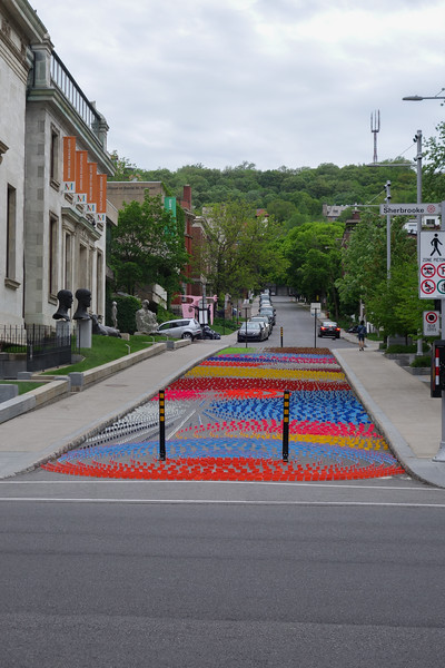 Artwork in the street at the museum of fine arts