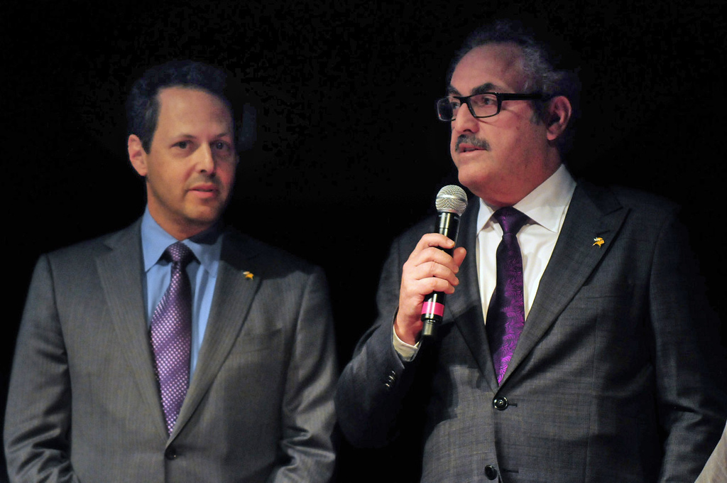 . Vikings owners Zygi Wilf, right, and Mark Wilf spoke before the proposed design for the new Vikings stadium by HKS Inc. was unveiled Monday evening at the Guthrie\'s Wurtele Theater in Minneapolis on May 13, 2013. (Pioneer Press: Scott Takushi)