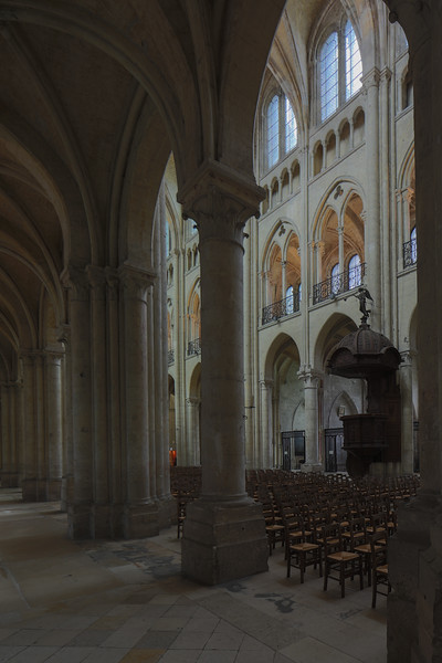 Noyon Cathedral Aisle and Nave Elevation