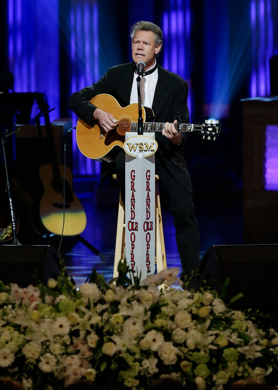 . Randy Travis performs during the funeral for country music star George Jones in the Grand Ole Opry House on Thursday, May 2, 2013, in Nashville, Tenn. (AP Photo/Mark Humphrey, Pool)