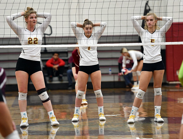 11/14/2019 Mike Orazzi | StaffrSt. Joseph's Lily Mattison (22), Kyla Debenedetto (1) and Katie Spangenberg (5) during the Class L Second Round Girls Volleyball Tournament at BCHS. r