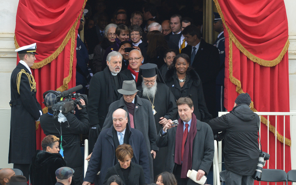 . Faith leaders arrive for the 57th Presidential Inauguration ceremonial swearing-in of President Barack Obama at the US Capitol on January 21, 2013 in Washington, DC. The oath is to be administered by US Supreme Court Chief Justice John Roberts, Jr.   JEWEL SAMAD/AFP/Getty Images