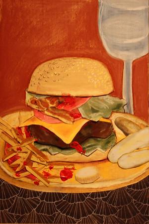 """Hamburger"" (mixedf media collage) by Ann Calandro"