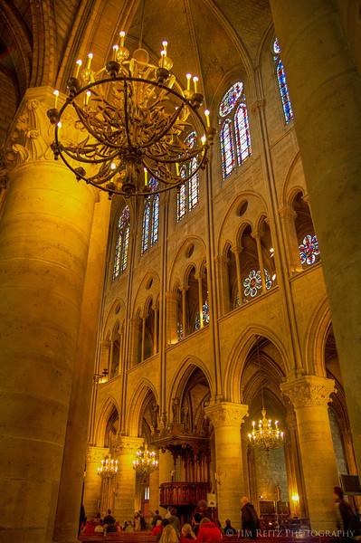 Notre Dame, Paris - interior of cathedral.