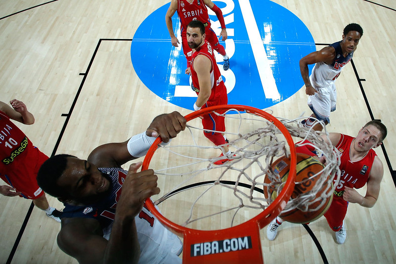 . Andre Drummond (L) of the USA dunks during the 2014 FIBA World Basketball Championship final match between USA and Serbia at Palacio de los Deportes on September 14, 2014 in Madrid, Spain. (Photo by Gonzalo Arroyo Moreno/Getty Images)