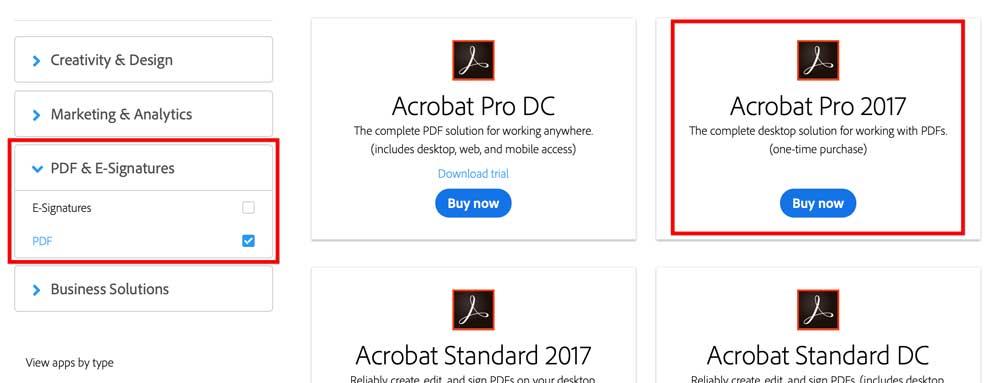Acrobat Pro 2017 perpetual license