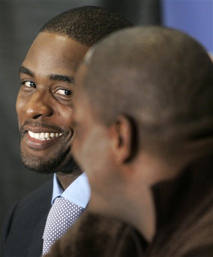 Description of . Download Comp 070116027692  Pistons Webber Basketball Detroit Pistons' Chris Webber, left, smiles at Joe Dumars , president of basketball operations, at a news conference in Auburn Hills, Mich., Tuesday, Jan. 16, 2007. Webber signed a prorated contract for the veteran's minimum in the hopes of adding a championship to his NBA resume by joining the Pistons. (AP Photo/Paul Sancya)