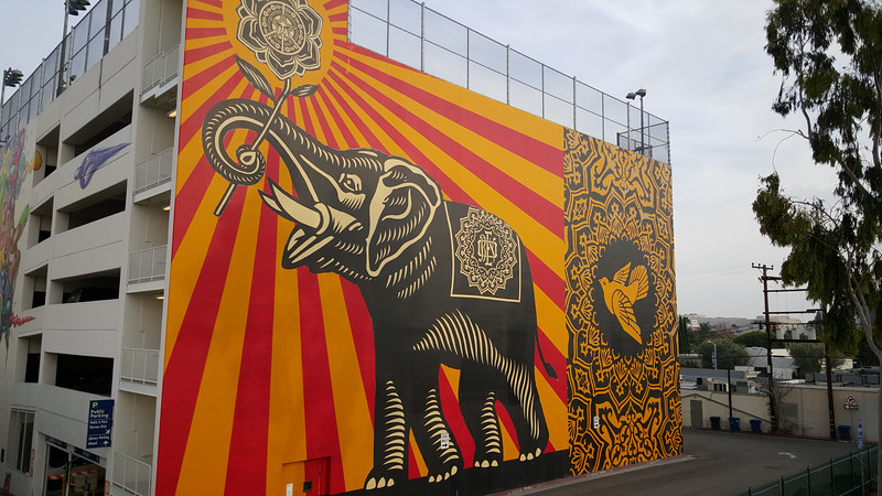 A mural on a carpark