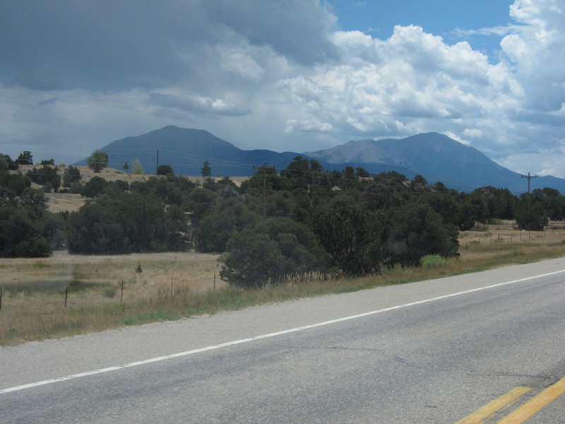 On Hwy 160 now. .. West Spanish Pk on the right rises to 13,626 ft.