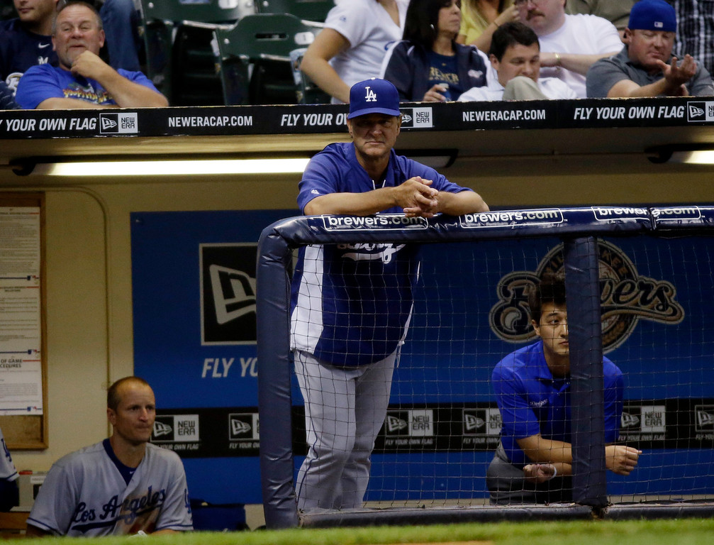 . Los Angeles Dodgers manager Don Mattingly during the fifth inning of a baseball game against the Milwaukee Brewers Wednesday, May 22, 2013, in Milwaukee. (AP Photo/Morry Gash)