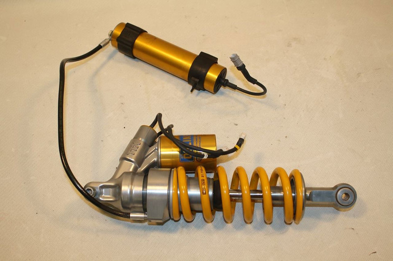 1/6 - OHLINS TTX rear shock assembly from a 2010 DUCATI MULTISTRADA 1200S TOURING:
