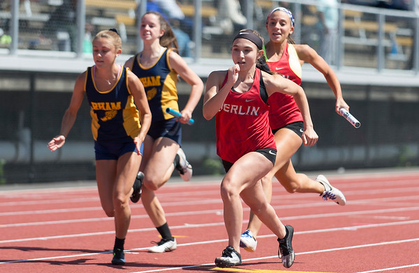 06/03/19 Wesley Bunnell   Staff The CIAC held their open track and field state open at Willow Brook Park on Monday afternoon. Berlin's Jessica Ingenito receives the baton from Maxine Muscatello during the girls 4x100 meter relay.