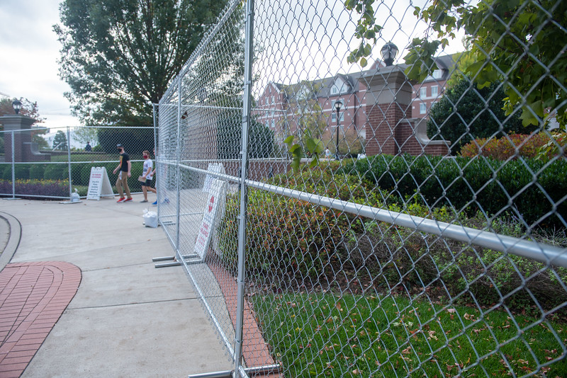 Security and perimeter fence for Debate 2020