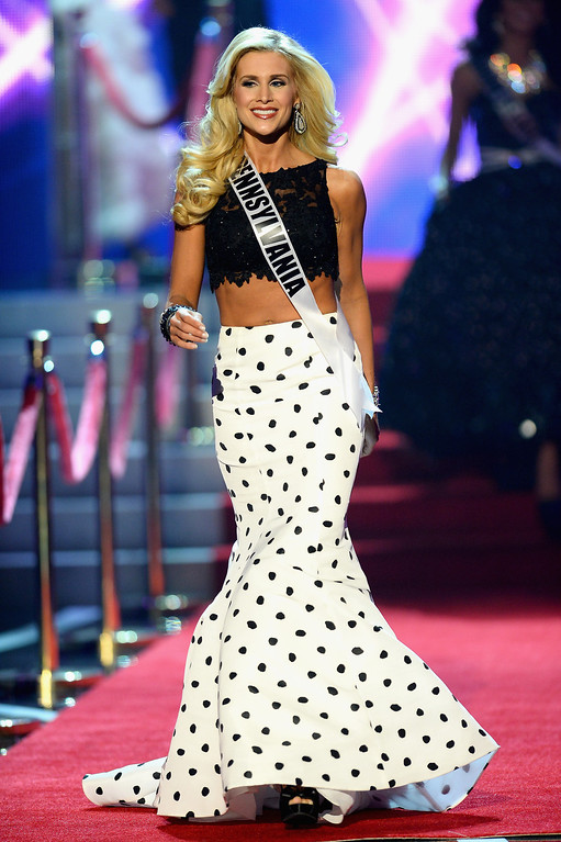 . Miss Pennsylvania USA Jessica Billings walks onstage during the 2013 Miss USA pageant at PH Live at Planet Hollywood Resort & Casino on June 16, 2013 in Las Vegas, Nevada.  (Photo by Ethan Miller/Getty Images)