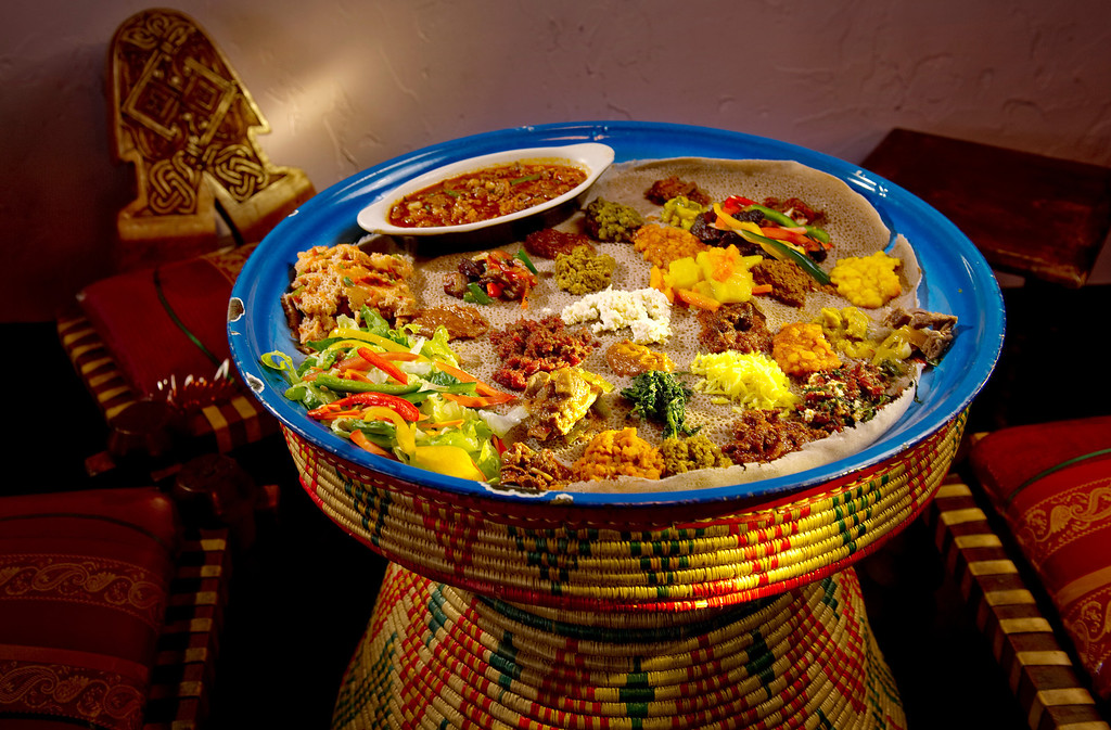 . Dining review of The Nile Ethiopian  Restaurant, 1951 S. Havana Street, in   Aurora on Thursday August 22, 2013. This is the Nile Combination, a giant platter for several appetites. (Photo By Cyrus McCrimmon/The Denver Post )